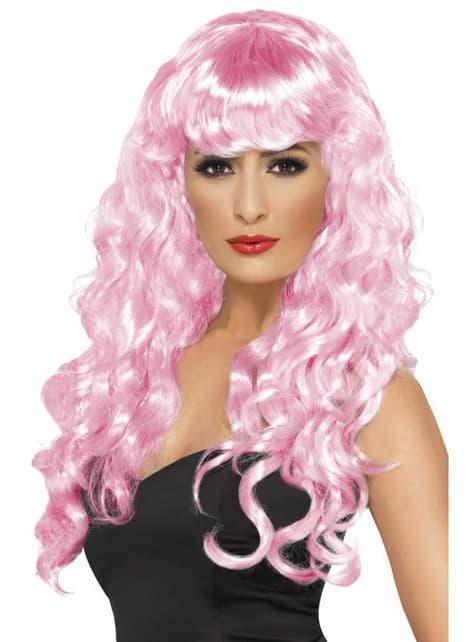 Peluca rosa de sirena con flequillo