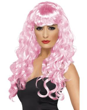 Peluca rosa larga con flequillo