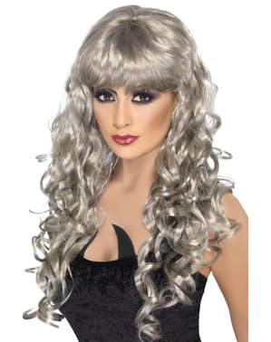 Parrucca argentata da fantasma con frangia