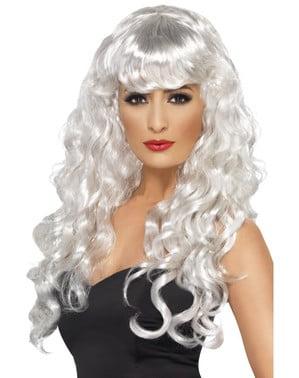Parrucca bianca da fanstasma con frangia