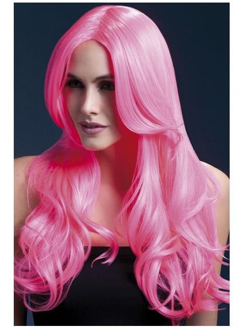 Peluca Khloe rosa neón