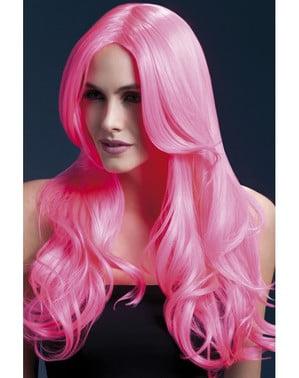 Pruik neon roze Khloe