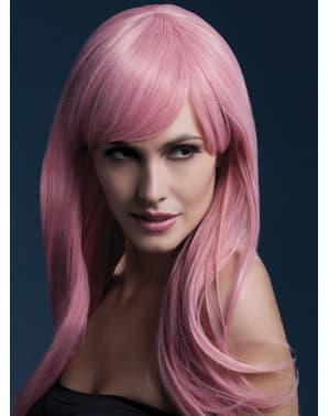 Pruik neon roze Sienna