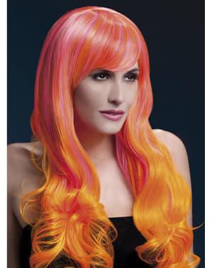 Vaaleanpunaoranssi Emily-peruukki
