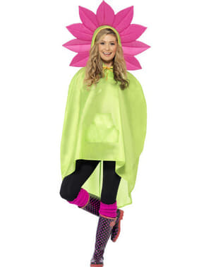 Blume Party Poncho Regen Cape Regenmantel