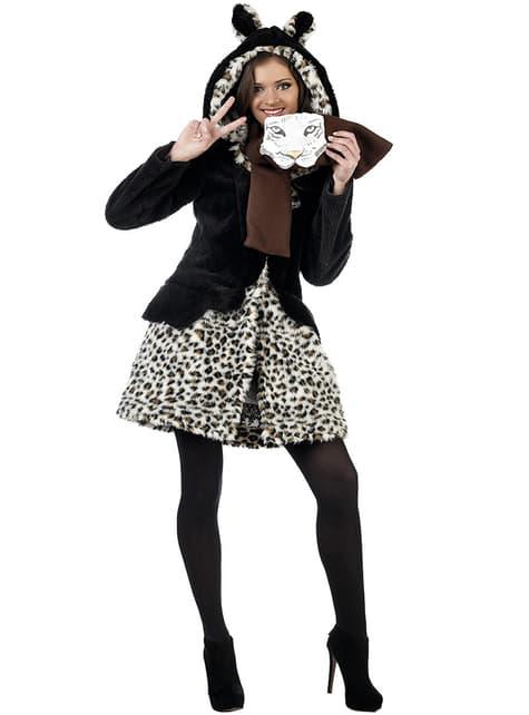 Set jas en sjaal schattige luipaard winter