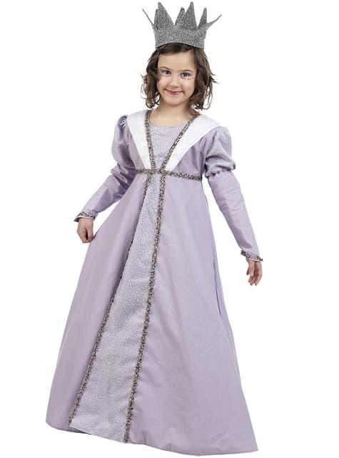 Középkori hercegnő jelmez egy lány