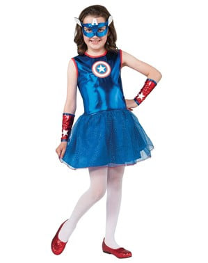 Captain America kostume med balletskørt til piger