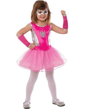 Lyserødt Spidergirl kostume med balletskørt til piger