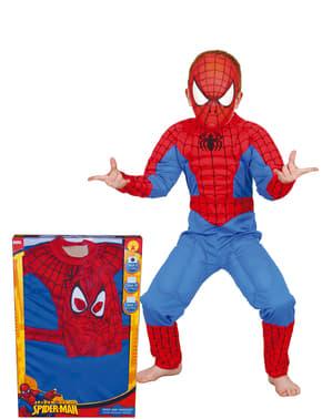 Gespierd Spiderman Kostuum voor jongens in een doos