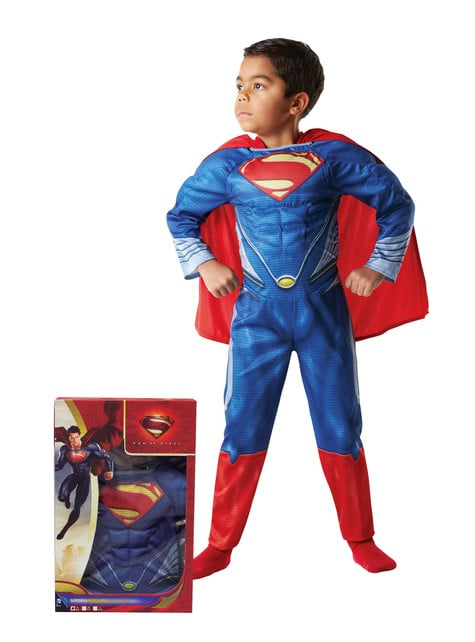 Muscular Superman costume for a child in a box