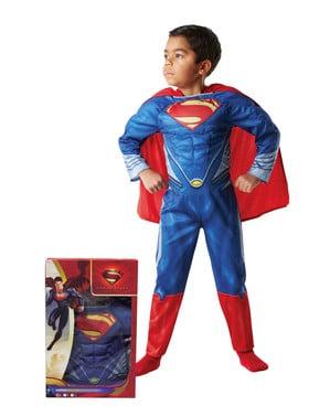 Muskuløst Supermankostume til drenge i kasse