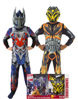 Fato de Bumble Bee e Optimus Prime para menino em caixa