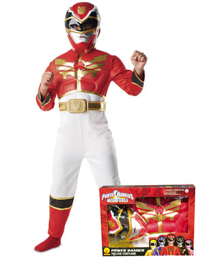 Punainen Power Ranger Megaforce -asu lapsille pakkauksessa