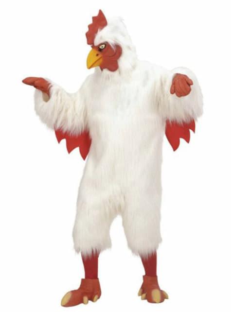 Disfraz de pollo blanco de peluche para adulto