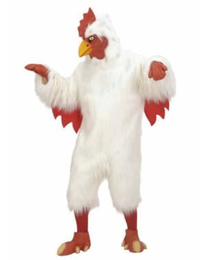 Costum de pui alb de pluș pentru adult