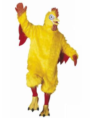 Fato de frango amarelo de peluche para adulto