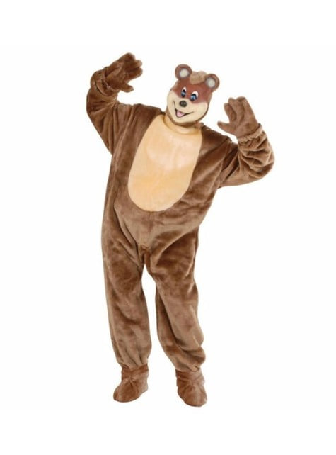 Plush bear costume for an adult