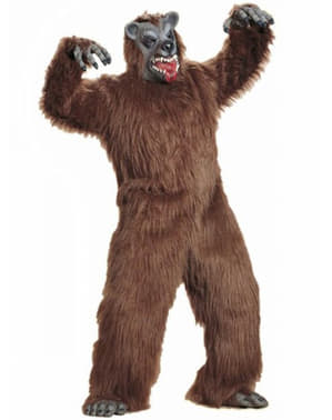 Plush scary bear costume for an adult