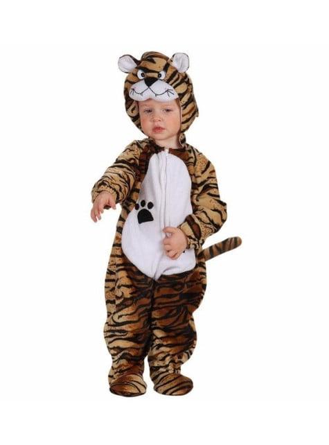 Disfraz de tigre marrón de peluche para bebé