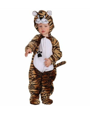 Ruskea plyysinen tiikeriasu pienelle lapselle