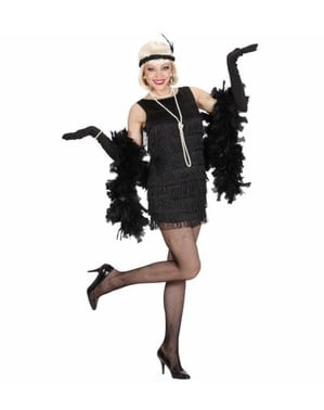 Charleston Kostüm für Damen schwarz mit Fransen