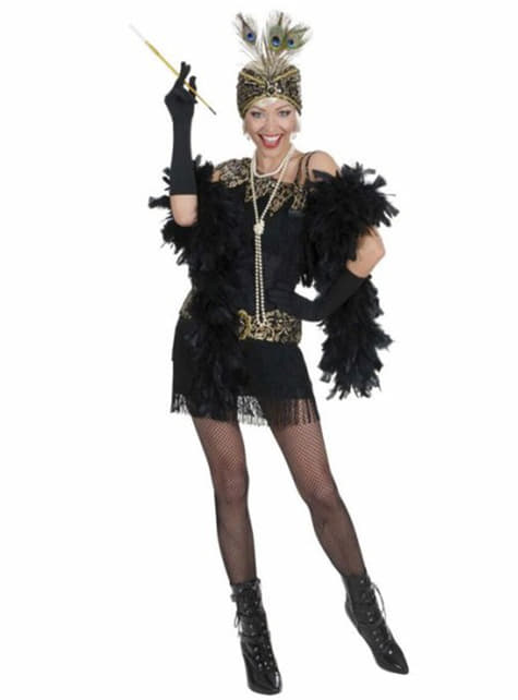 Zwart kostuum feest jaren '20 voor vrouwen