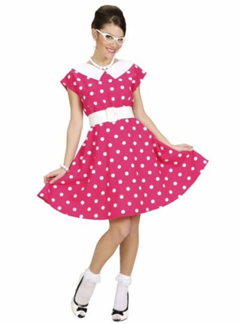 Lyserødt 50'er kostume til kvinder