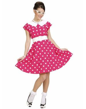 Fato dos anos 50 cor-de-rosa para mulher