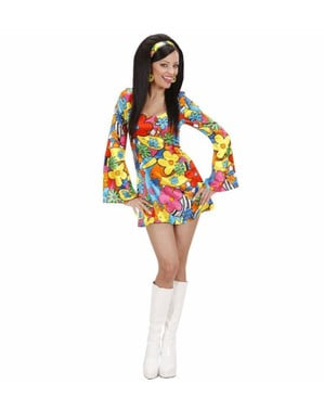 Hippie flower power costume for a woman