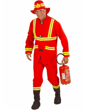 Red firefighter costume for a man