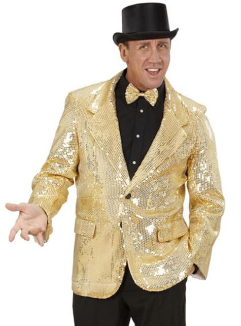 Casaco dourado de lantejoulas para homem