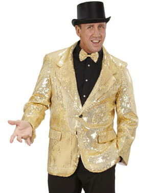 Veste de smoking dorée à paillettes homme