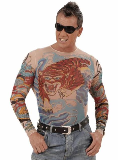 男のための虎と龍の入れ墨のTシャツ