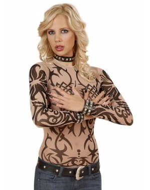 Tribal Tattoo Illusion Shirt voor vrouw