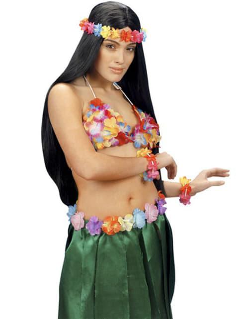 Sujetador hawaiano de flores - para tu disfraz