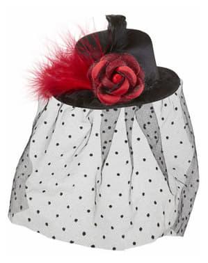Mini chapéu de cabaré com véu