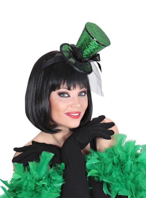 Mini chapéu de copo verde com véu