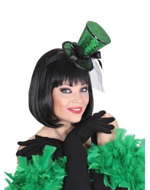 Minicappello cilindro verde con velo