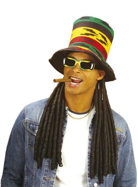 Chapéu de copa rastafari com rastas