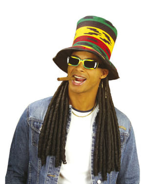 Rastafarian top hat with dreadlocks