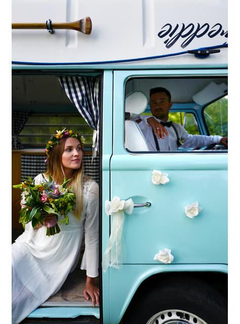 10 roses beiges adhésives pour la voiture de la mariée