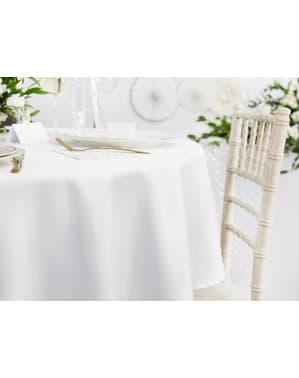Rundt stoff bordtrekk i hvit med mål på 230 cm