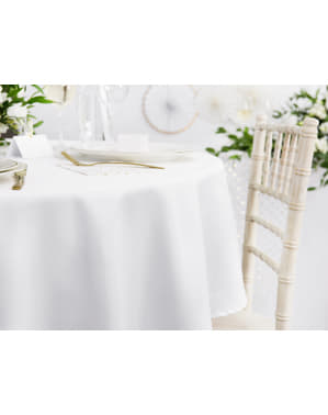 Față de masă rotundă albă de 300 cm