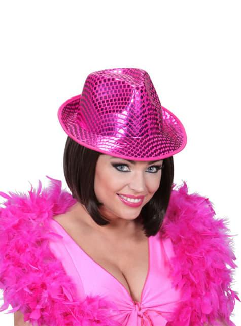 Ružový flitrový klobúk