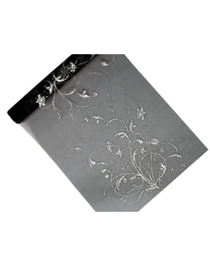 Bordslöpare svart med silverfärgat tryck i organza