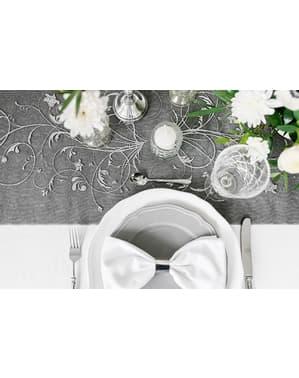 Czarny & srebrny tłoczony bieżnik stołowy z organzy