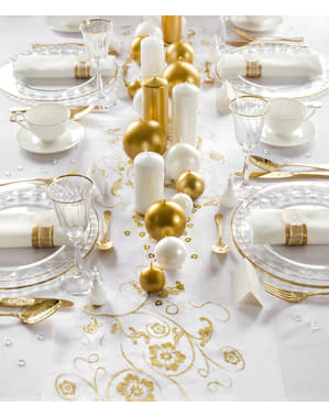 Chemin de table or et blanc en organza