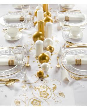Runner per tavolo bianco con stampa dorata di organza