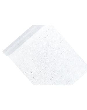 Biały & srebrny tłoczony bieżnik stołowy z organzy Perła